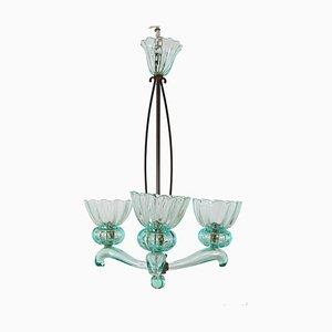 Murano Glas und Messing Kronleuchter von Archimede Seguso für Seguso, 1950er