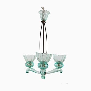 Murano Glass and Brass Chandelier by Archimede Seguso for Seguso, 1950s