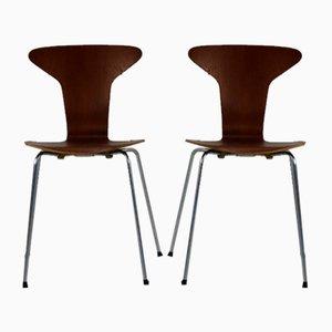 Sedie da pranzo in teak di Arne Jacobsen per Fritz Hansen, anni '50, set di 2