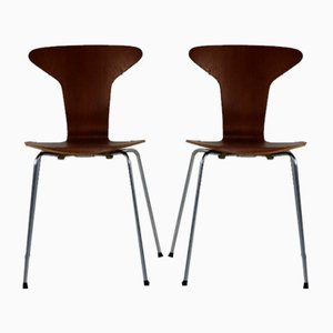Teak Dining Chairs by Arne Jacobsen for Fritz Hansen, 1950s, Set of 2