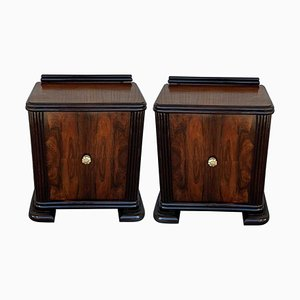 Art Deco Side Cabinets or Nightstands with Ebonized Base, 1940s, Set of 2