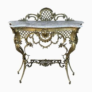 19th Century French Bronze Console Table or Vanity with White Marble Top