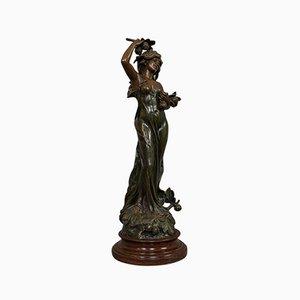 Figura femenina francesa Art Nouveau de bronce, años 20