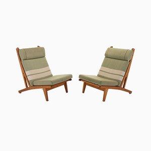 GE 375 Lounge-Stühle mit hoher Rückenlehne von Hans J. Wegner für Getama, 1960er Jahre, 2er-Set