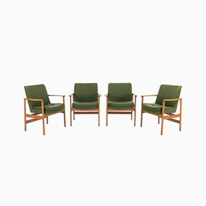 Armchairs by Ib Kofod Larsen for Fröscher, 1960s, Set of 4