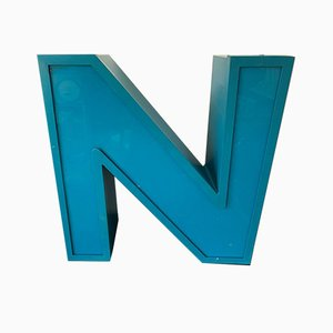 Aluminum and Plexiglass Letter N, 1970s