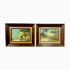 Französische Schule, Darstellung von Landschaften der Provence, 20. Jahrhundert, Öle auf Holz, 2er-Set