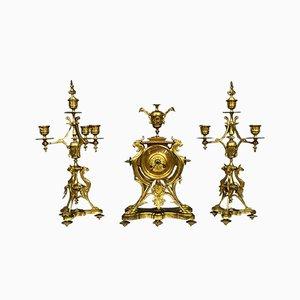 Gilt Bronze Decorative Fireplace Candleholders Set