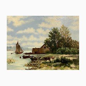 Scuola francese, paesaggio lacustre animato, 1900, olio su tela