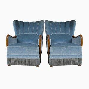 Danish Velvet Easy Chairs, 1950s, Set of 2