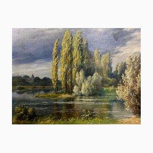 Escuela de francés, paisaje, lago, isla de abeto, 1940, óleo sobre tabla