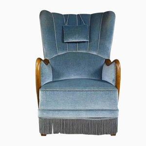 Danish Velvet Highback Lounge Chair, 1950s