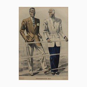 Französisches Vintage Fashion Poster von Jean Choiselat, 1947