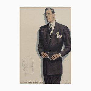Französisches Vintage-Modeplakat von Jean Choiselat, 1950