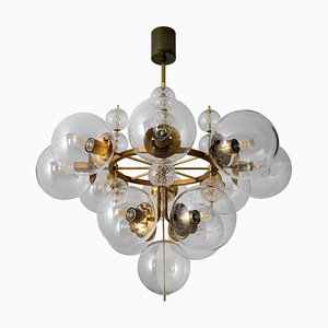 Large Hotel Chandelier with Brass Fixture and Hand-Blown Glass Globes