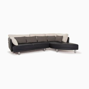 Dark Blue Leather & White Fabric Corner Sofa from Brühl & Sippold