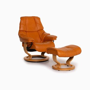 Orange Reno Leather Armchair & Stool from Stressless, Set of 2