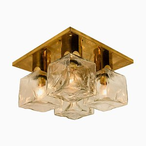 Brass and Glass Ice Cube Flush Mount from Kalmar, 1970s
