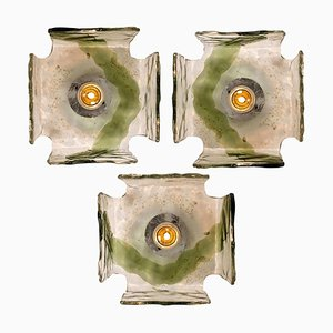 Hand Blown Flush Mounts or Wall Sconces from J.t. Kalmar, 1960s, Set of 3