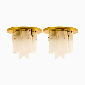 Brass and Glass Flush Mounts by J.T. Kalmar, 1960