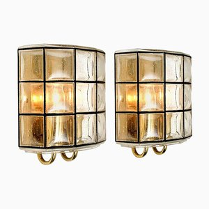 Iron and Bubble Glass Sconces Wall Lamps from Limburg, Germany, 1960, Set of 2