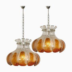 Lampadari floreali in vetro ambrato di Mazzega, Italia, set di 2