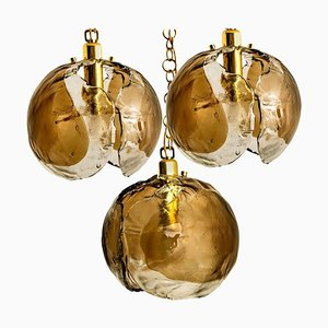 Chandelier Pendant Light in Smoked Glass and Brass from Kalmar, 1970s