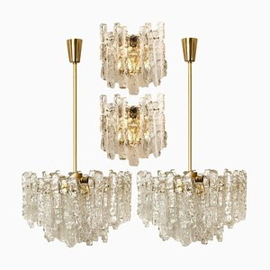 Ice Glass Wall Sconces and Chandeliers from Kalmar, Set of 4