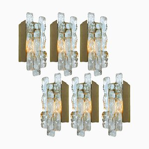 Ice Glass Wall Sconce by J.T. Kalmar, Austria, 1970s