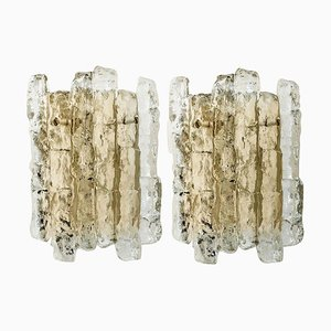 Ice Glass Wall Sconces with Brass Tone by J.T. Kalmar, Austria, Set of 2