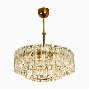 Chandelier in Glass and Brass J.T. Kalmar, 1960