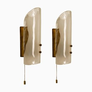 Brass and Glass Hand Blown Murano Glass Wall Lights by J.T. Kalmar 1960s, Set of 2