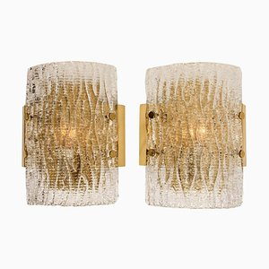 Structured Ice Glass Wall Sconces from Kalmar, 1960, Set of 2
