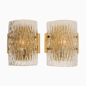 Strukturierte Wandlampen aus Milchglas von Kalmar, 1960, 2er Set