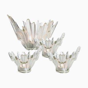 Eisglas Kerzenhalter oder Schalen Set von Wirkkala für Humppila, 1960er Jahre