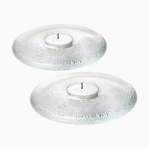Kerzenhalter aus Kristallglas von Iittala, Finnland, 2er Set