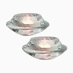Votiv Kerzenhalter aus Kristallglas von Royal Copenhagen, 2er Set