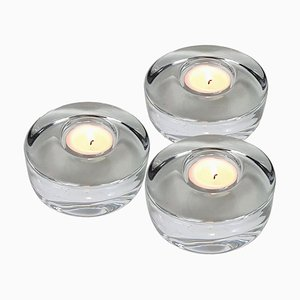 Crystal Glass Votive Candleholders by Kosta Boda for Orrefors, Set of 3