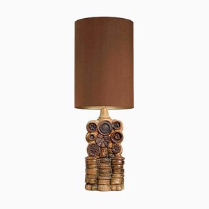 Ceramic Table Lamp with Silk Lampshade by B. Rooke