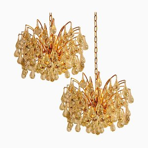 Large Brass and Crystal Chandeliers by Ernst Palme, Germany, 1970s, Set of 2