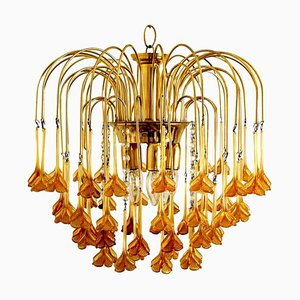Chandelier with Murano Burned Orange Glass Flowers in the Style of Venini