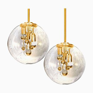 Space Age Brass and Blown Glass Lights from Doria, 1970s