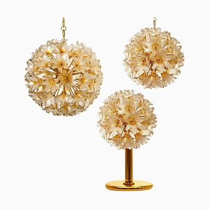 Brass & Gold Murano Glass Sputnik Light Fixtures by Paolo Venini for Veart, Set of 3