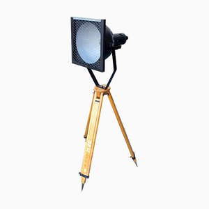 Black Enamel Industrial Spot Light Tripod Floor Lamp, 1960s