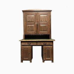 Mesa de pino pintado con armario superior
