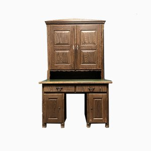 Painted Pine Bureau with Top Cabinet