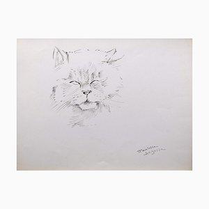 Marie Paulette Lagosse, El gato, Pluma sobre papel, años 70
