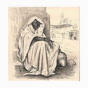 Inconnu, Portrait orientaliste, Dessin à l'encre, Lac Man