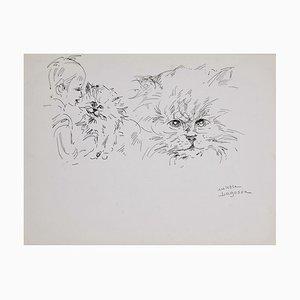 Marie Paulette Lagosse, Die Katze und Kind, Feder auf Papier, 1970er