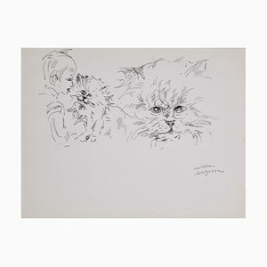Marie Paulette Lagosse, The Cat and Child, Pen on Paper, 1970s